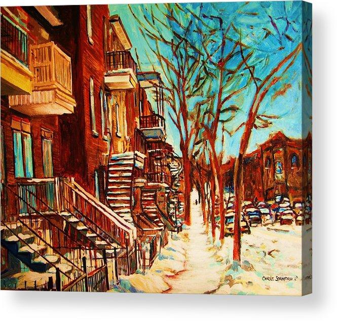 Verdun Paintings By Montreal Street Scene Artist Carole Spandau Acrylic Print featuring the painting Winter Staircase by Carole Spandau