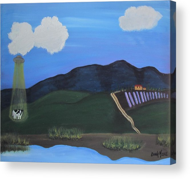 Landscape Acrylic Print featuring the painting Bovine Abduction In Kerrville Texas by Diana Martinez