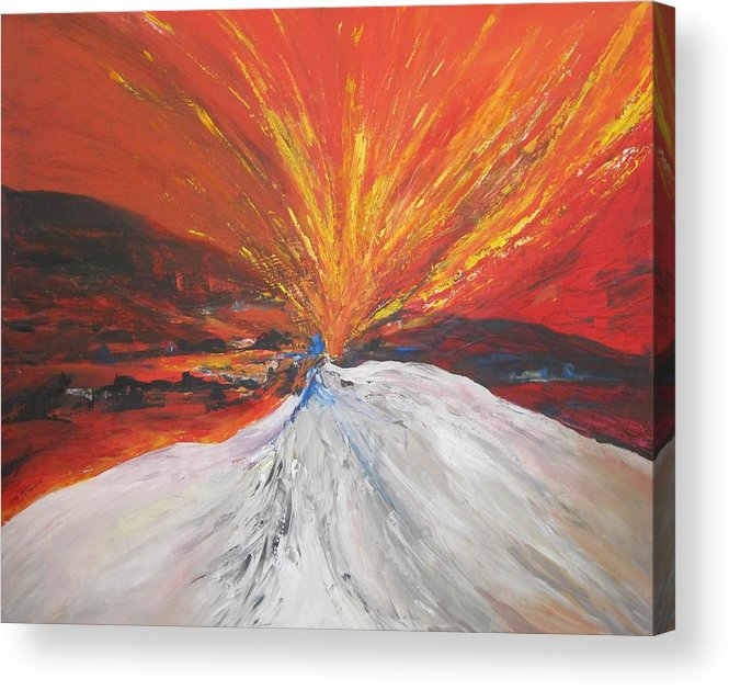 Fire Acrylic Print featuring the painting Fire And Ice by Liz McQueen