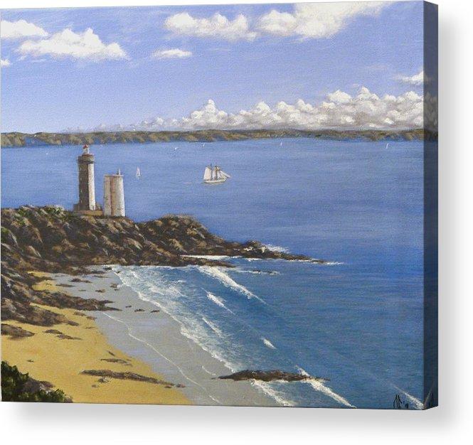 Seascape Acrylic Print featuring the painting Le Minou Et La Belle Poule by Manu LE GARS