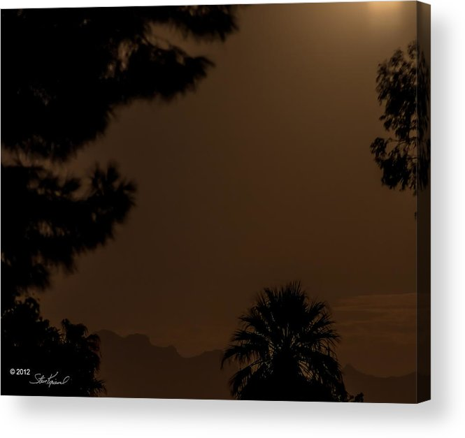 Moon Acrylic Print featuring the photograph Moon Light Onto The Superstition Mountains by Steve Knievel