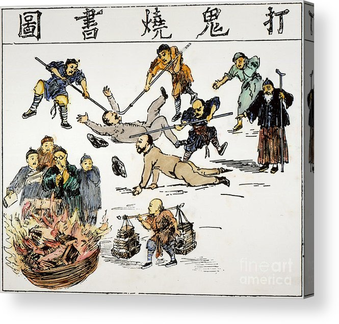 1890 Acrylic Print featuring the painting China: Anti-west Cartoon by Granger