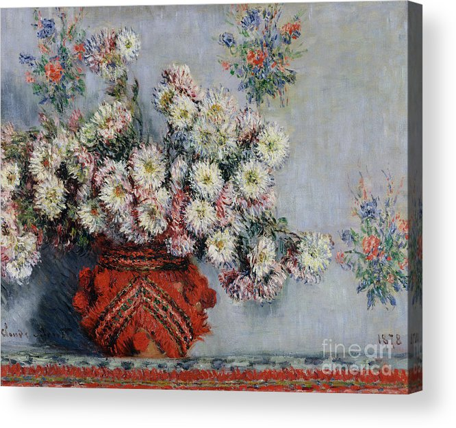 Chrysanthemums Acrylic Print featuring the painting Chrysanthemums by Claude Monet