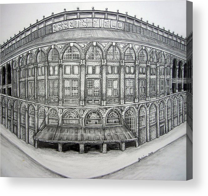 Ebbets Field Acrylic Print featuring the drawing Ebbets Field by Juliana Dube