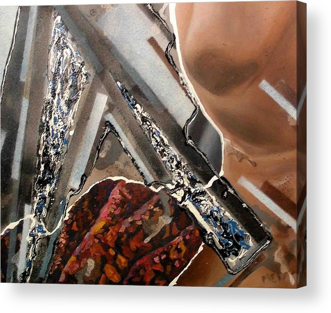 Acrylic Print featuring the painting Grey Day by Evguenia Men
