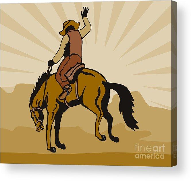Rodeo Acrylic Print featuring the digital art Rodeo Cowboy Bucking Bronco by Aloysius Patrimonio
