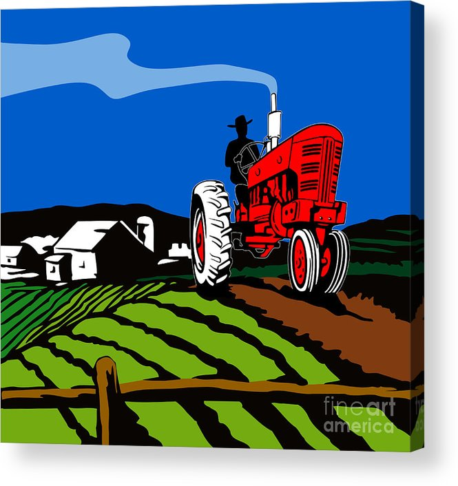 Tractor Acrylic Print featuring the digital art Vintage Tractor Retro by Aloysius Patrimonio