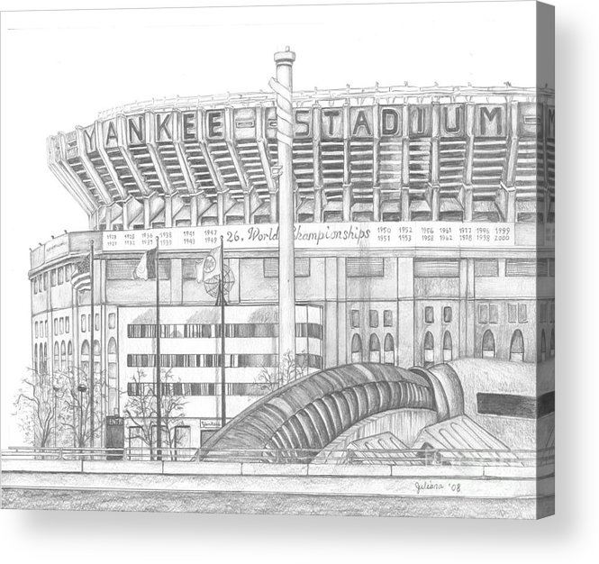 Yankee Stadium Acrylic Print featuring the drawing Yankee Stadium by Juliana Dube