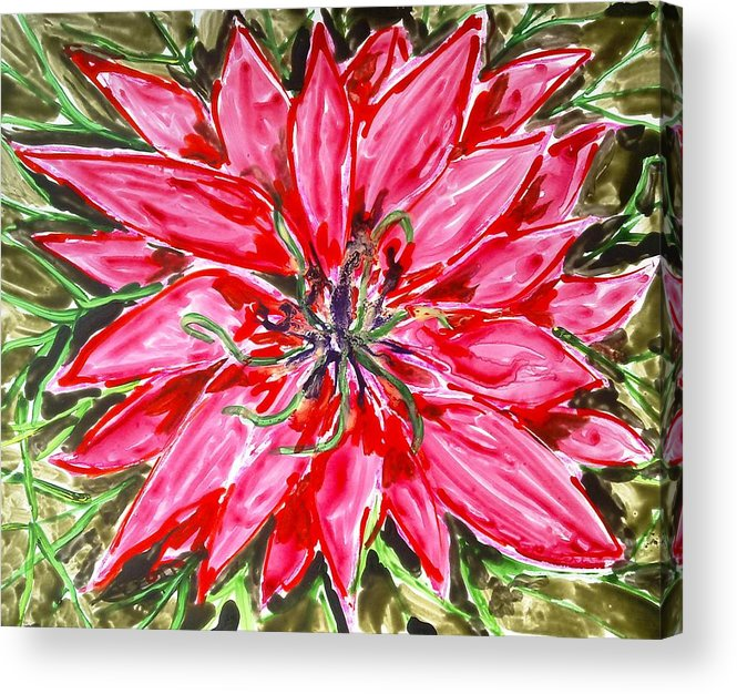 Abstract Flowers Acrylic Print featuring the painting Divine Flowers by Baljit Chadha