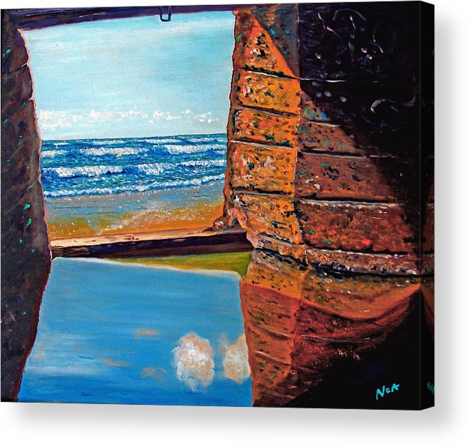 Seascape Acrylic Print featuring the painting 60 Years After ...- 2000 by Aymeric NOA