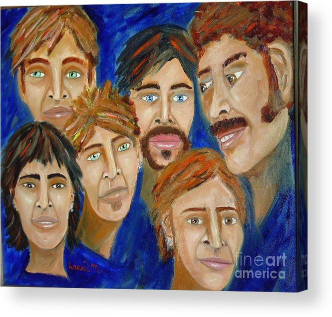 Portrait Acrylic Print featuring the painting 70s Band Reunion by Laurie Morgan