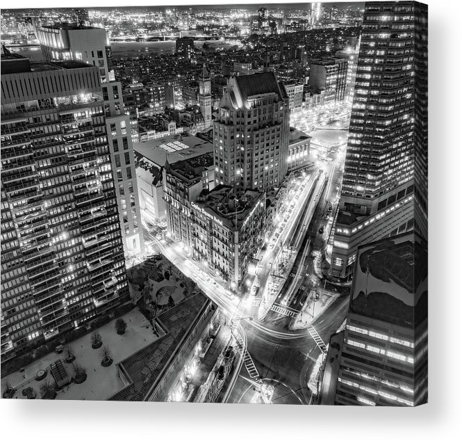 Copley Place Acrylic Print featuring the photograph A Snowy Night In Boston by Diane Loos