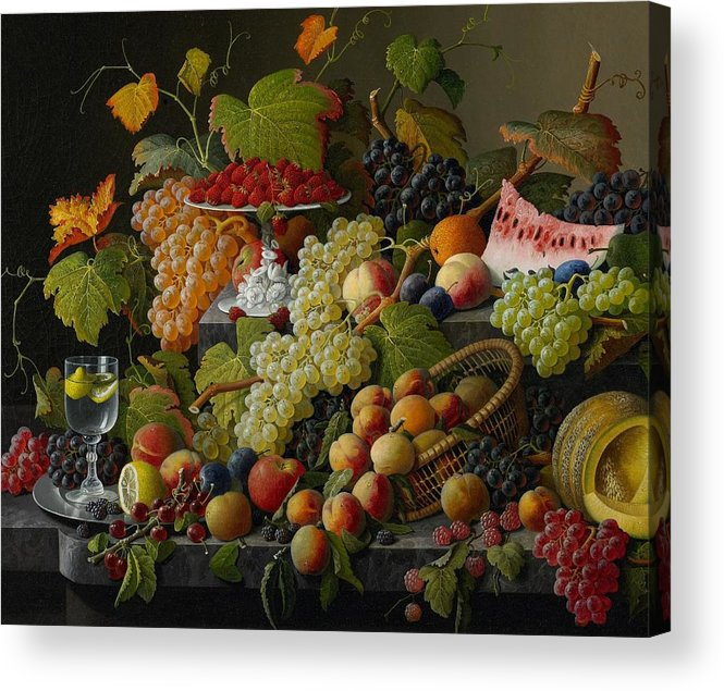Still-life Acrylic Print featuring the painting Abundant Fruit by Severin Roesen