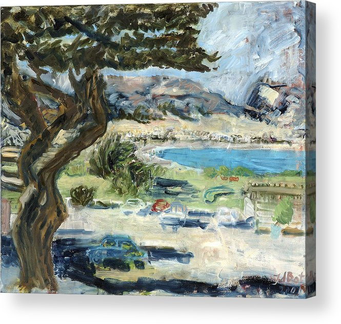 Tree Bay Leaves Shadow Cars Parking Place Hills Bushes Heat Acrylic Print featuring the painting Apollo Bay by Joan De Bot