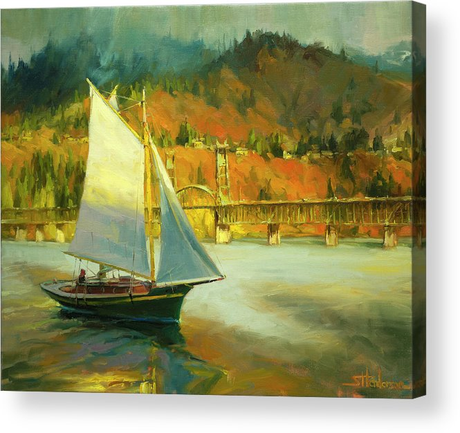 Sailing Acrylic Print featuring the painting Autumn Sail by Steve Henderson