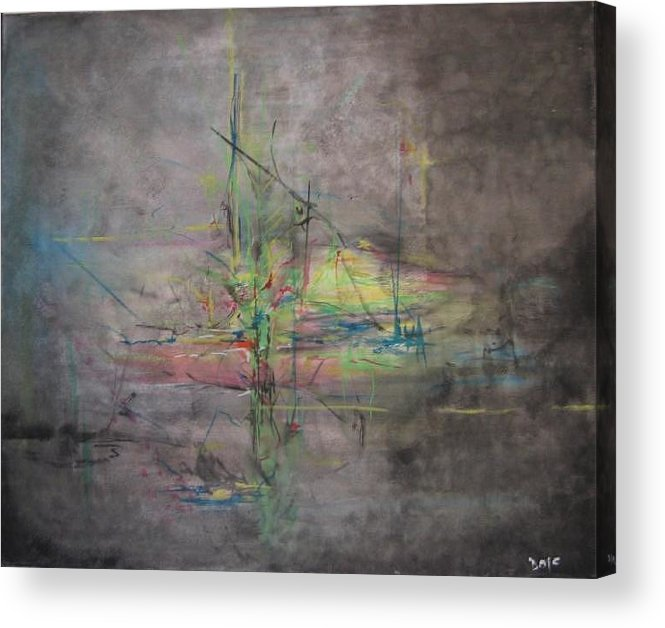 Abstract Acrylic Print featuring the painting Awakening Abstract 1 Black Background Bright Detail by Lizzy Forrester