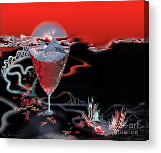 Blood Acrylic Print featuring the digital art Blood Red From Pure White by Jennifer Kathleen Phillips