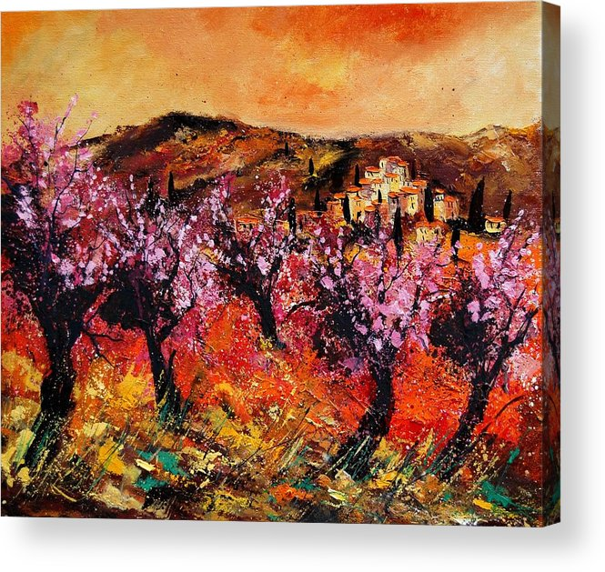 Provence Cherrytree Summer Spring Acrylic Print featuring the painting Blooming Cherry Trees by Pol Ledent