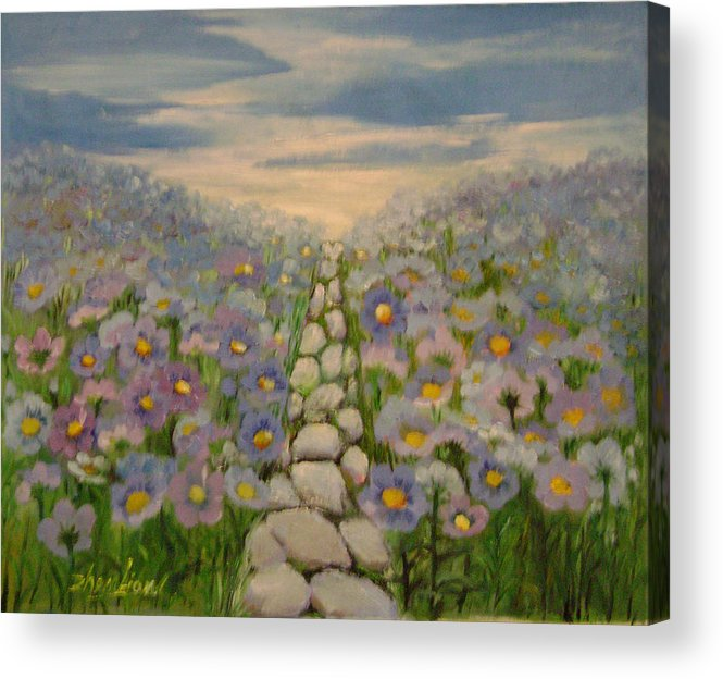 Floral Acrylic Print featuring the painting Blue Vibration by Lian Zhen