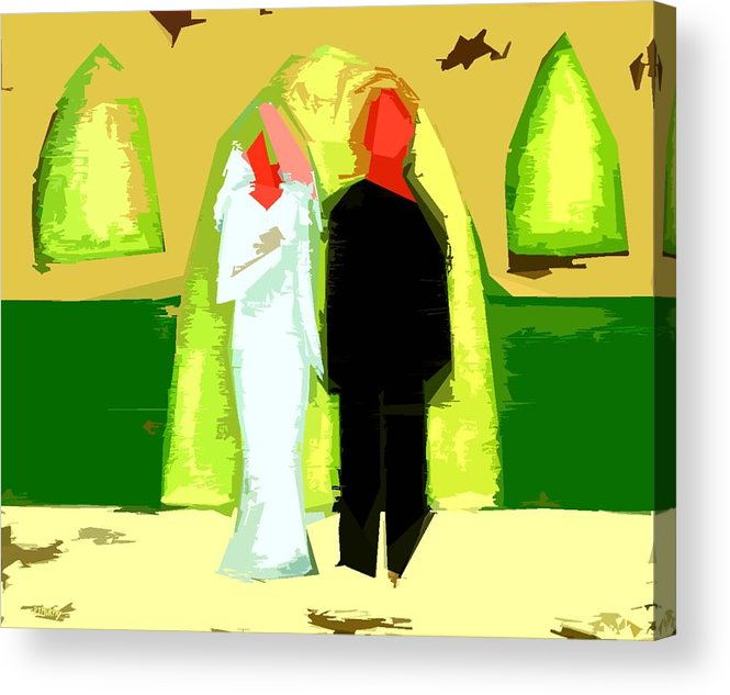 Wedding Acrylic Print featuring the painting Blushing Bride And Groom 2 by Patrick J Murphy
