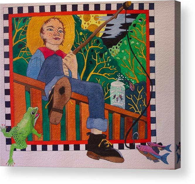 Children Acrylic Print featuring the painting book illustration - Tom Sawyer by Victoria Heryet
