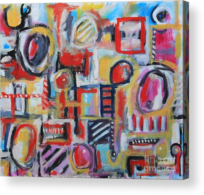 Abstract Art Acrylic Print featuring the painting Box Of Junk by Michael Henderson
