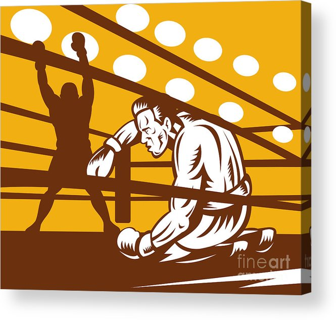 Boxing Acrylic Print featuring the digital art Boxer Down On His Hunches by Aloysius Patrimonio
