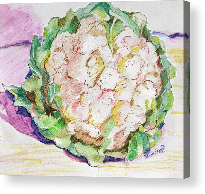 Cauliflower Acrylic Print featuring the painting Califlower by Jan Bennicoff