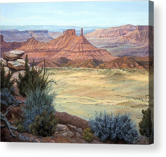 Landscape Acrylic Print featuring the painting Castle Rock Iv by Page Holland