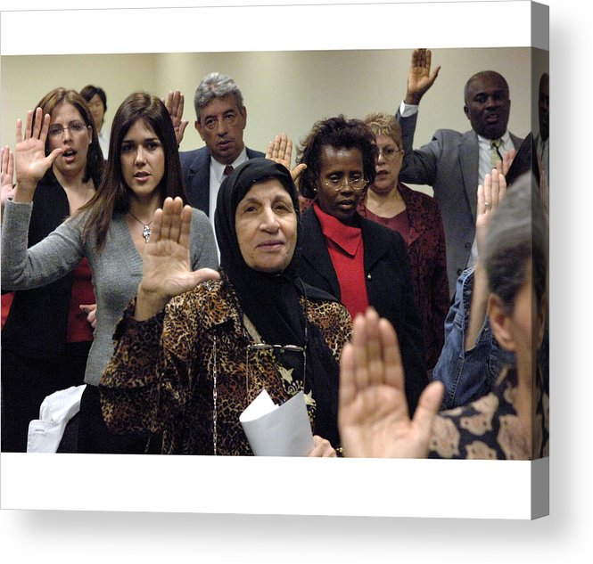 Citizenship Ceremony Acrylic Print featuring the photograph Citizenship Rockville Md by Thomas Michael Corcoran