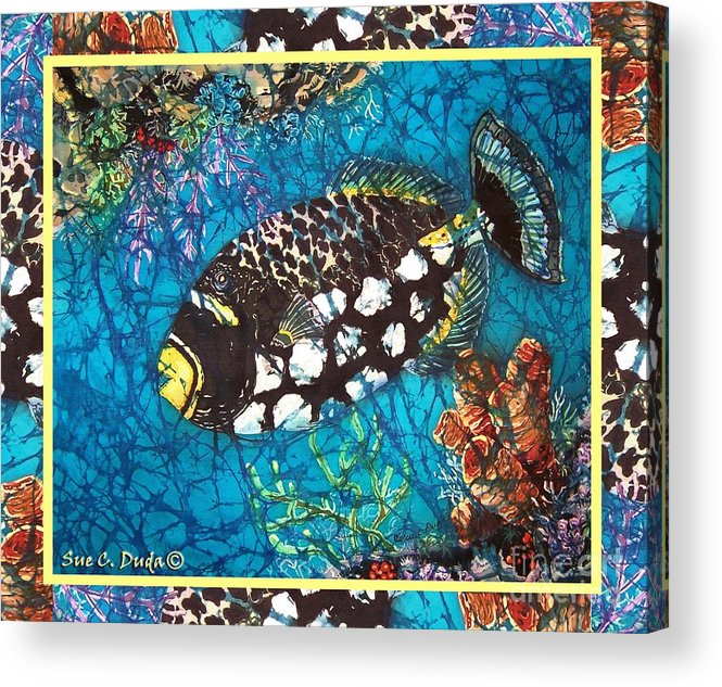 Batik Acrylic Print featuring the painting Clown Triggerfish-bordered by Sue Duda