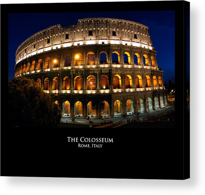 Italy Acrylic Print featuring the photograph Colosseum At Night by Alan Zeleznikar