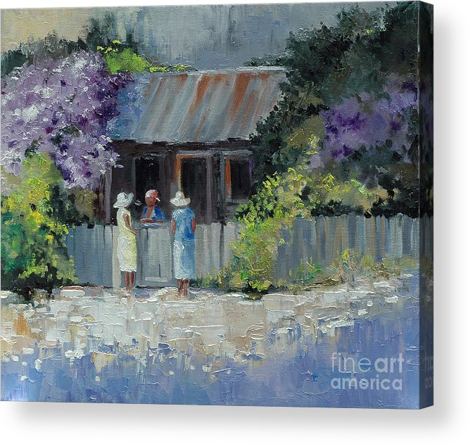 Floral Acrylic Print featuring the painting Crape Myrtle And Ladies Of Darien by Glenn Secrest
