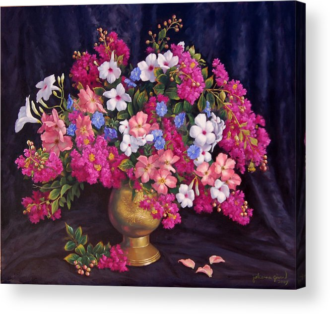 Roses Acrylic Print featuring the painting Crepe Myrtle And Roses by Johanna Girard