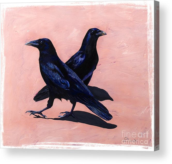 Crows Acrylic Print featuring the painting Crows by Sandi Baker