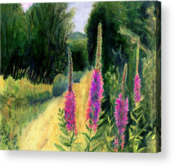 Loosestrife Acrylic Print featuring the painting Crybaby Bridge On Egypt Road by Diana Ludwig