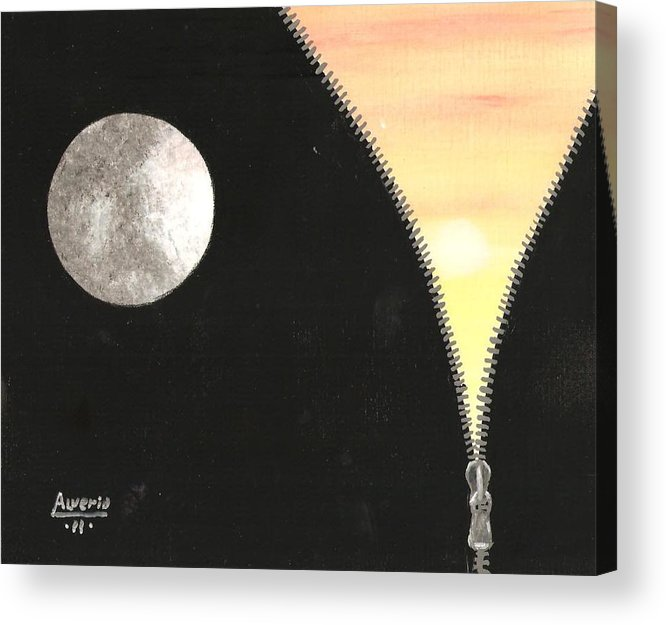 Moon Acrylic Print featuring the painting Day And Night by Edwin Alverio