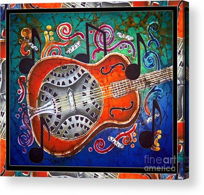 Dobro Guitar \slide Guitar\ Acoustic Electric Fiddle Banjo Mandolin Violin Country Bluegrass Music Acrylic Print featuring the painting Dobro - Slide Guitar-bordered by Sue Duda