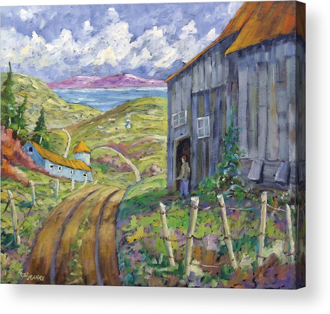 Art Acrylic Print featuring the painting Down To The Fjord by Richard T Pranke