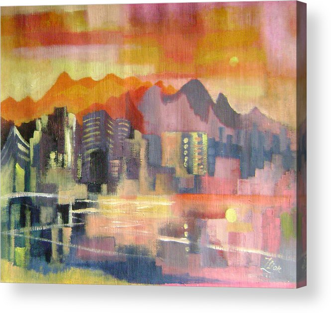 Abstract Acrylic Print featuring the painting Dream City No.3 by Lian Zhen