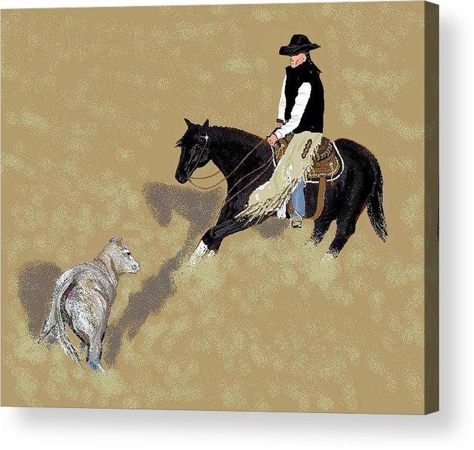 Horses Acrylic Print featuring the digital art Duet by Carole Boyd