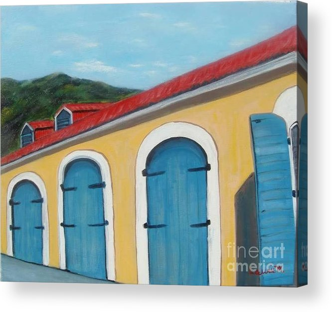 Doors Acrylic Print featuring the painting Dutch Doors Of St. Thomas by Laurie Morgan