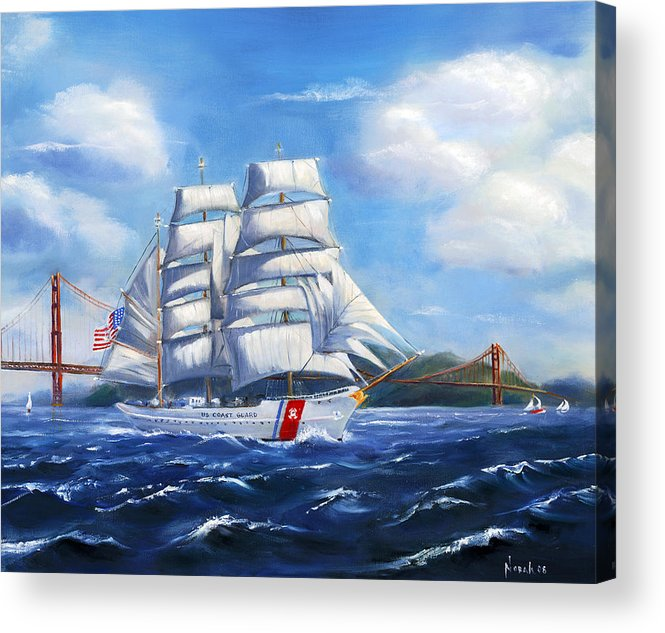 Marine Acrylic Print featuring the painting Eagle In The Gate by Norah Brown