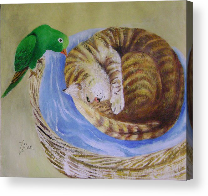 Fantasy Acrylic Print featuring the painting Green Bird by Lian Zhen