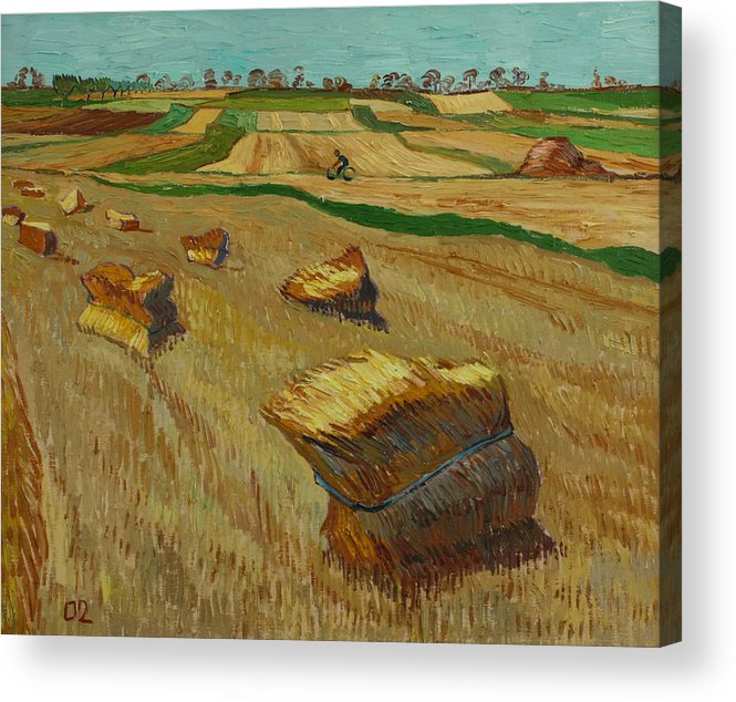 Landscape Acrylic Print featuring the painting Haystacks In Moravia by Vitali Komarov