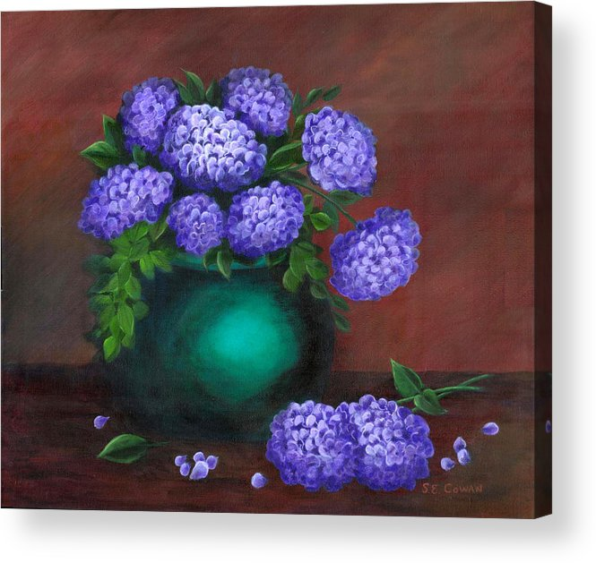 Floral Acrylic Print featuring the painting Heavenly Hydrangeas by SueEllen Cowan