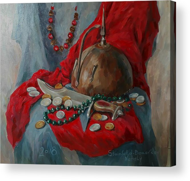 Still Life Acrylic Print featuring the painting Helmet With Knife by Natalia Shtainfeld-Borovkov