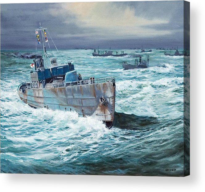 Hms Compass Rose Acrylic Print featuring the painting Hms Compass Rose Escorting North Atlantic Convoy by Glenn Secrest
