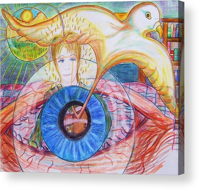 Holy Ghost Acrylic Print featuring the drawing Holy Ghost Shining Eyes by Richard Hubal