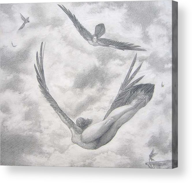 People Flying Acrylic Print featuring the drawing Icarus Suits by Julianna Ziegler